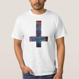 Galaxy nebula upside down cross tee shirt