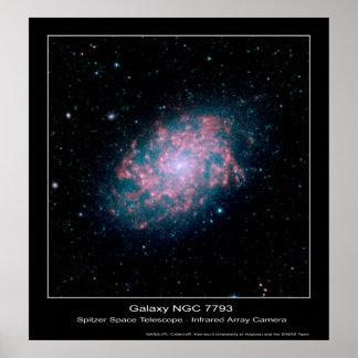 Galaxy NGC 7793 – Spitzer Space Telescope - Infrar Poster