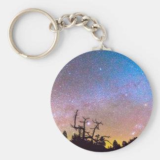 Galaxy Night Basic Round Button Keychain