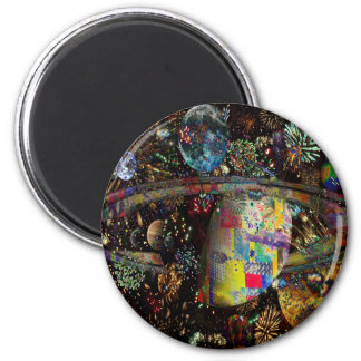 Galaxy of Fireworks Collage Planets  2859b 2 Inch Round Magnet