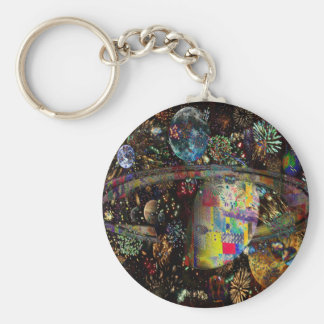 Galaxy of Fireworks Collage Planets  2859b Keychain