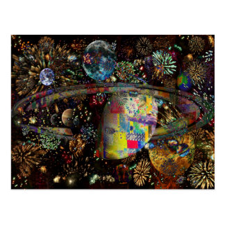 Galaxy of Fireworks Collage Planets  2859b Postcard