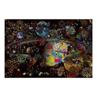 Galaxy of Fireworks Collage Planets  2859b Posters