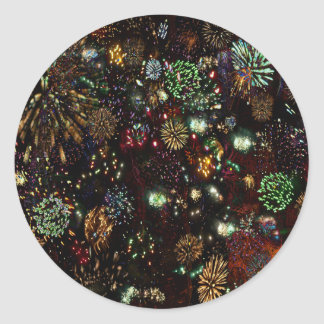 Galaxy of Fireworks Collage Round Stickers