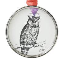 Galaxy owl 1 metal ornament