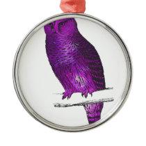 Galaxy owl 3 metal ornament