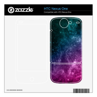 Galaxy Pink Blue Green Teal Stars Nebula Decals For HTC Nexus One