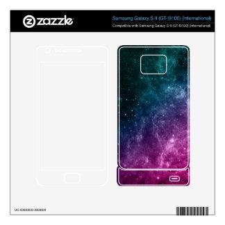Galaxy Pink Blue Green Teal Stars Nebula Samsung Galaxy S II Skins