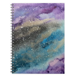 Galaxy Print Outer Space Watercolor Notebook