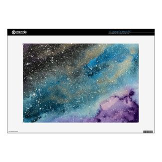 """Galaxy Print Outer Space Watercolor Skin Decal For 15"""" Laptop"""