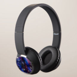 Galaxy purple beautiful night starry sky image headphones