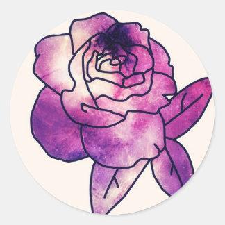 Galaxy Rose Classic Round Sticker