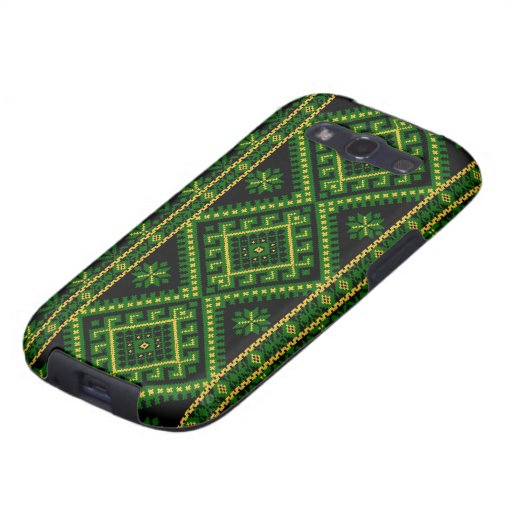 Galaxy S3 Case Ukrainian Print Green