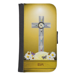 Galaxy S4 recovery cross monogrammed Galaxy S4 Wallet Cases