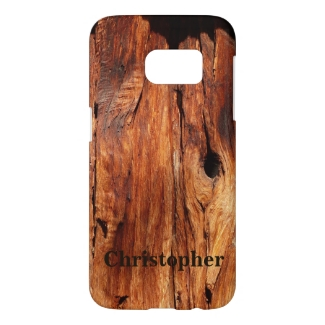 Galaxy S7, Personalized, Faux Weathered Wood