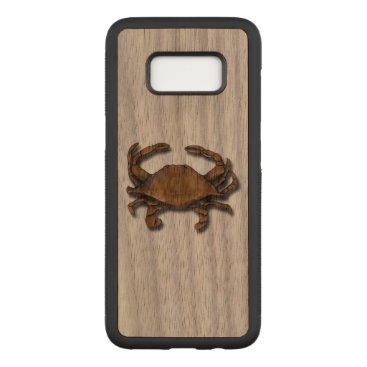 nautical_gifts Galaxy S8 Copper Crab on Walnut Carved Samsung Galaxy S8 Case