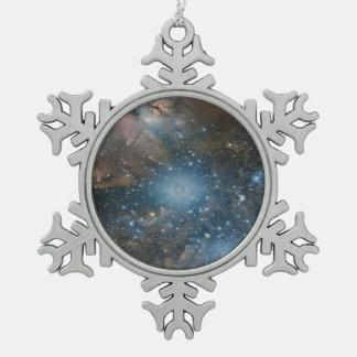 Galaxy Snowflake Pewter Christmas Ornament