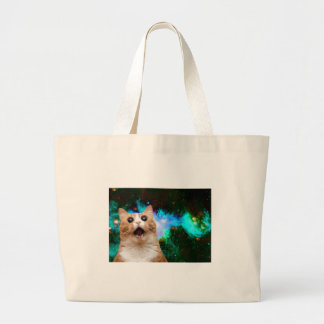 GALAXY SPACE CAT LARGE TOTE BAG