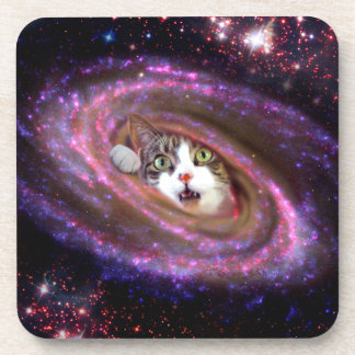 Galaxy Space Cats LOL Funny Cork Coaster