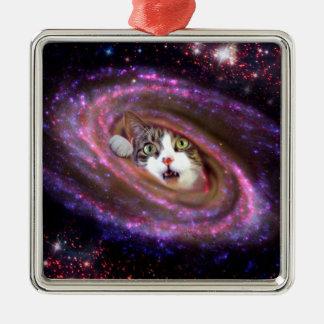 Galaxy Space Cats LOL Funny Square Ornaments