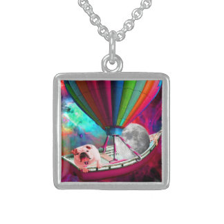 Galaxy Space Dog Sterling Silver Necklace