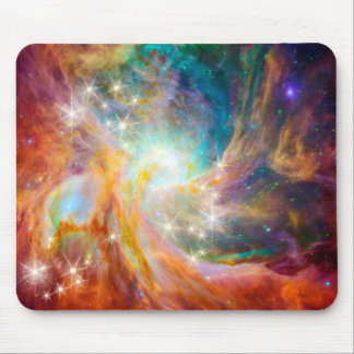 Galaxy Space Nebula Blue Gold Lavender Pink Mouse Pad
