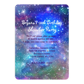 Galaxy Space Party Cosmic Birthday Invitations