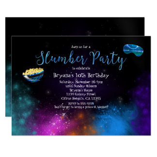 Galaxy Space Slumber Party Birthday Invitations