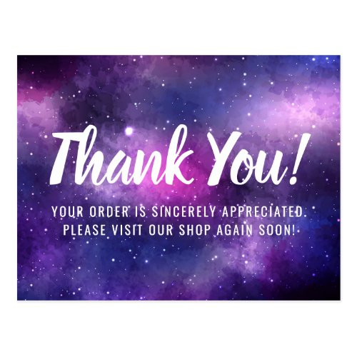Galaxy Space Stars Ultra Violet Purple Thank You Postcard