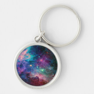 galaxy space universe key holder Silver-Colored round keychain