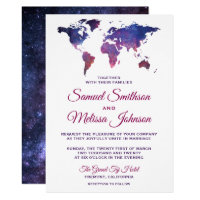 Galaxy Space World Map Wedding Invitation