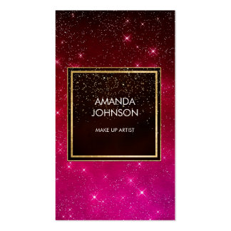 Galaxy Stars Golden Red Black Pink Confetti Business Card