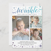 Galaxy Stars TWINKLE Enchanted | Teal & Purple Holiday Card