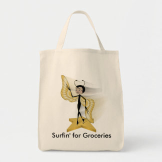 Galaxy Surfer Grocery Tote Bag