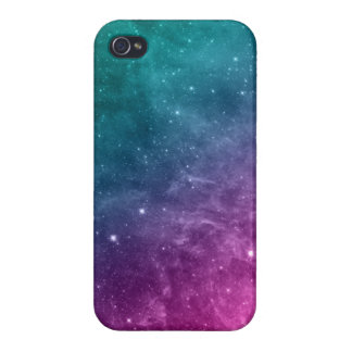 Galaxy Teal Pink Blue Nebula Stars Cover For iPhone 4