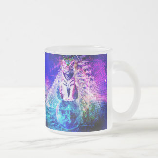 Galaxy tiger - pink tiger - 3d tiger - laser tiger frosted glass coffee mug