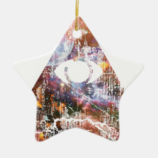 Galaxy Triangle Ceramic Ornament