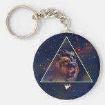 Galaxy Triangle Lion Head - Trendium Authentic Basic Round Button Keychain