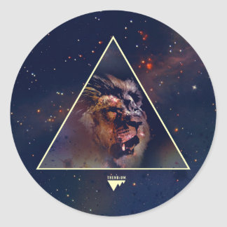 Galaxy Triangle Lion Head - Trendium Authentic Classic Round Sticker