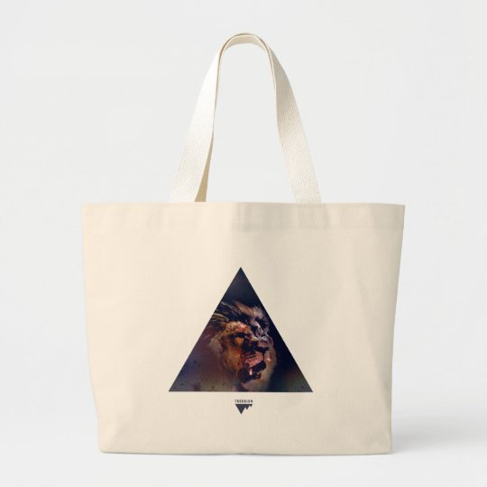 Galaxy Triangle Lion Head - Trendium Authentic Large Tote Bag