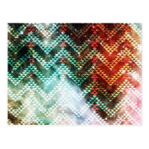 Galaxy Tribal Chevrons Red and Green Postcard