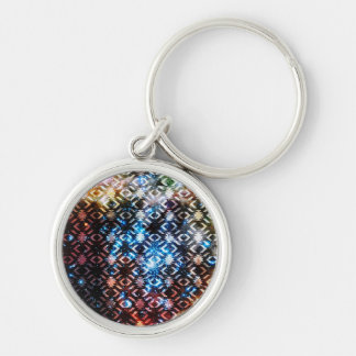 Galaxy Tribal Pattern Space Aztec Andes Ethnic Silver-Colored Round Keychain