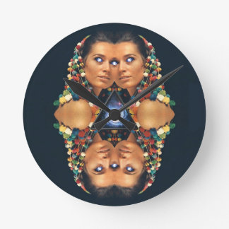 """Galaxy Twins I"" Psychedelic Art Print Round Wallclocks"