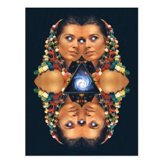 """Galaxy Twins I"" Psychedelic Art Print Postcard"