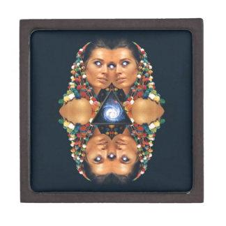 """Galaxy Twins I"" Psychedelic Art Print Premium Keepsake Box"