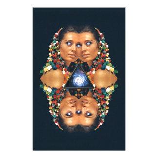 """Galaxy Twins I"" Psychedelic Art Print Stationery"