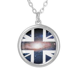 Galaxy Union Jack British(UK) Flag Round Pendant Necklace