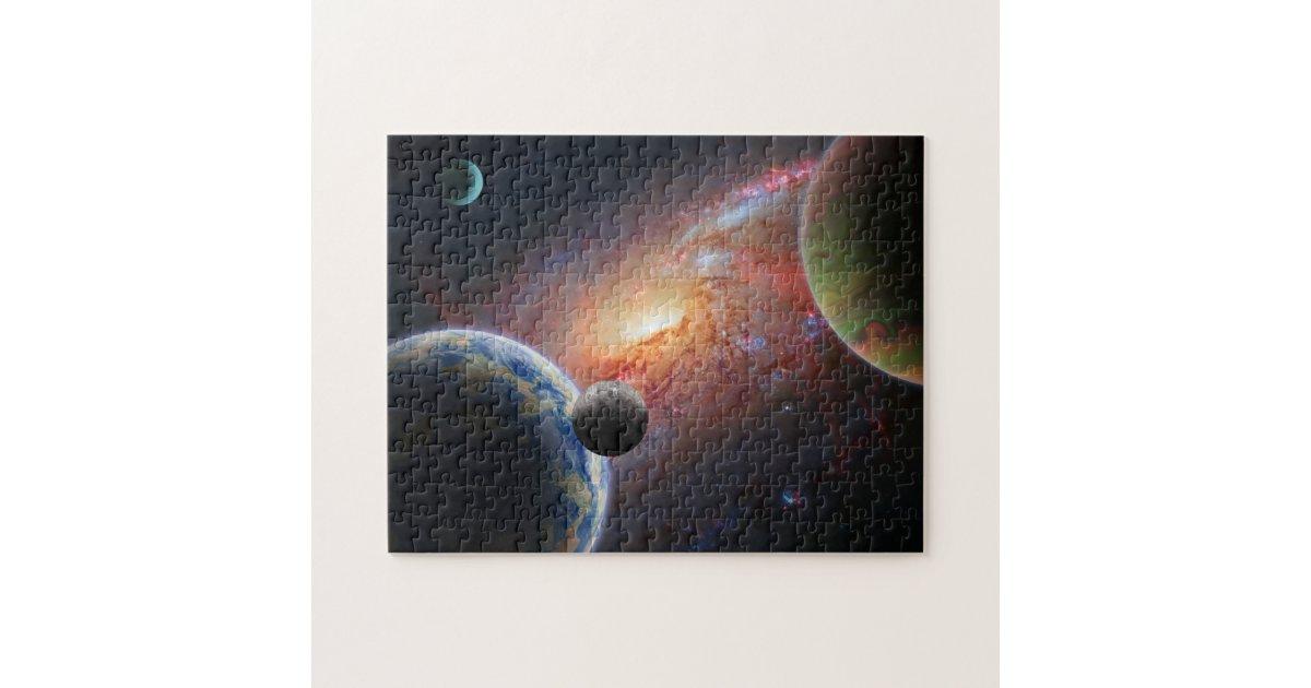 Galaxy With Planets Jigsaw Puzzle Zazzle Com