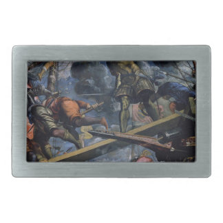 Galeas For Montes by Tintoretto Rectangular Belt Buckle