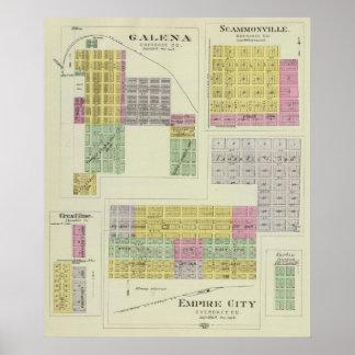 Galena, Scammonville, y Crestline, Kansas Poster